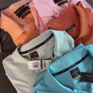 Greg Norman polo shirts 5 total 2 new with rags